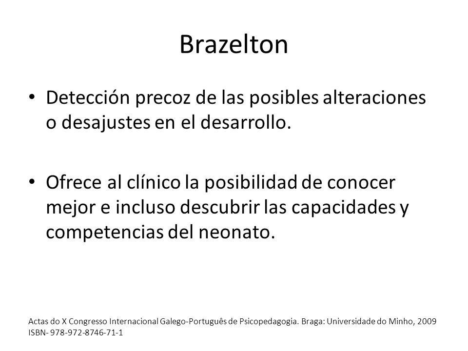 Brazelton Detección precoz de las posibles alteraciones o desajustes en el desarrollo. Ofrece al clínico la posibilidad de conocer mejor e incluso des