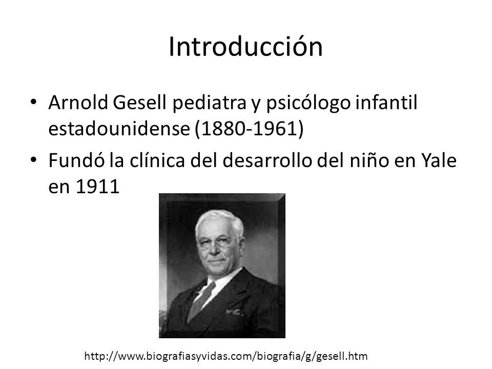 Introducción Arnold Gesell pediatra y psicólogo infantil estadounidense (1880-1961) Fundó la clínica del desarrollo del niño en Yale en 1911 http://www.biografiasyvidas.com/biografia/g/gesell.htm