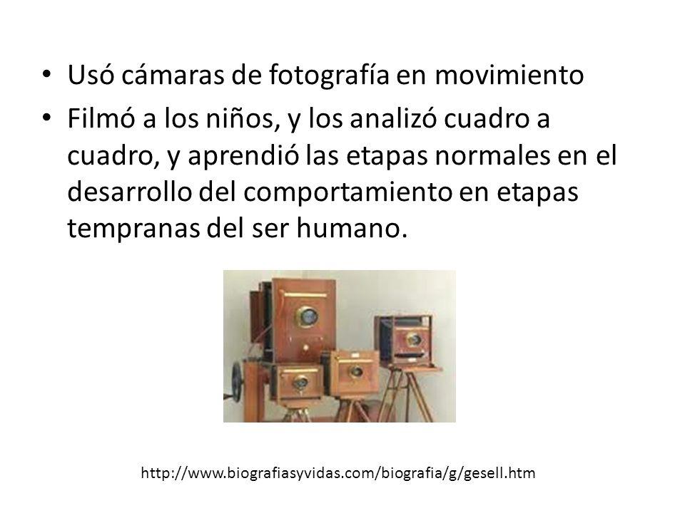 Usó cámaras de fotografía en movimiento Filmó a los niños, y los analizó cuadro a cuadro, y aprendió las etapas normales en el desarrollo del comportamiento en etapas tempranas del ser humano.