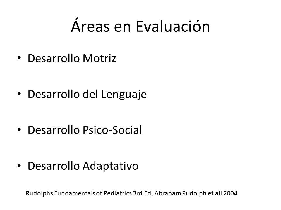 Áreas en Evaluación Desarrollo Motriz Desarrollo del Lenguaje Desarrollo Psico-Social Desarrollo Adaptativo Rudolphs Fundamentals of Pediatrics 3rd Ed, Abraham Rudolph et all 2004