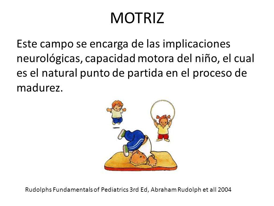 MOTRIZ Este campo se encarga de las implicaciones neurológicas, capacidad motora del niño, el cual es el natural punto de partida en el proceso de madurez.