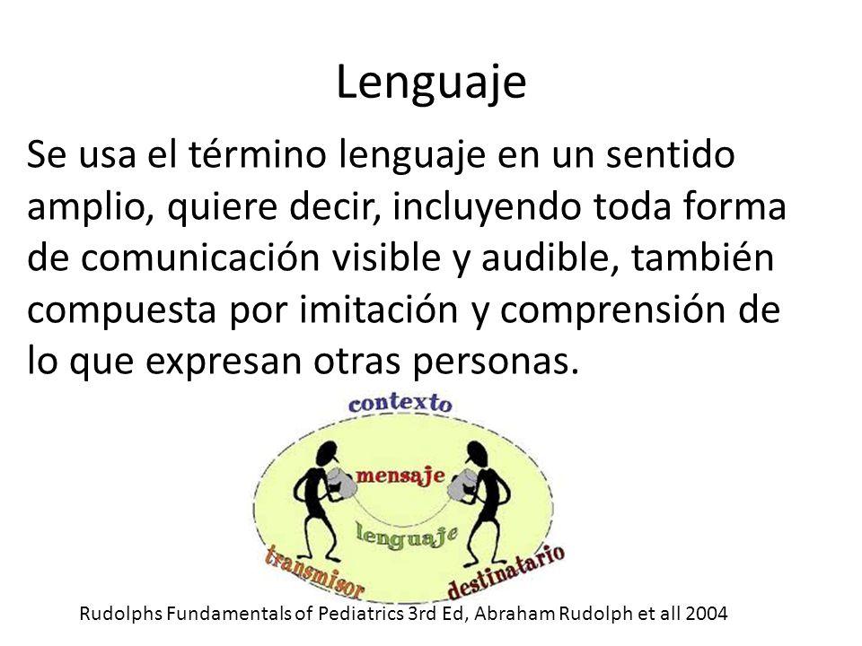 Lenguaje Se usa el término lenguaje en un sentido amplio, quiere decir, incluyendo toda forma de comunicación visible y audible, también compuesta por imitación y comprensión de lo que expresan otras personas.