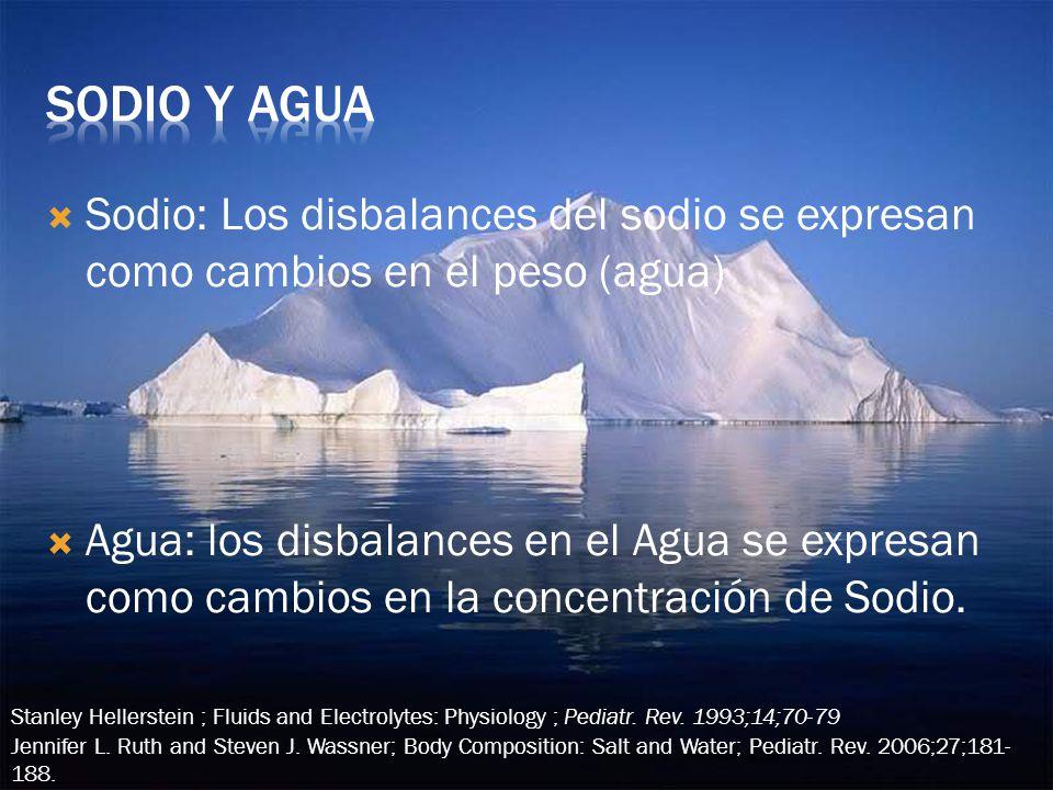 Sodio: Los disbalances del sodio se expresan como cambios en el peso (agua) Agua: los disbalances en el Agua se expresan como cambios en la concentración de Sodio.