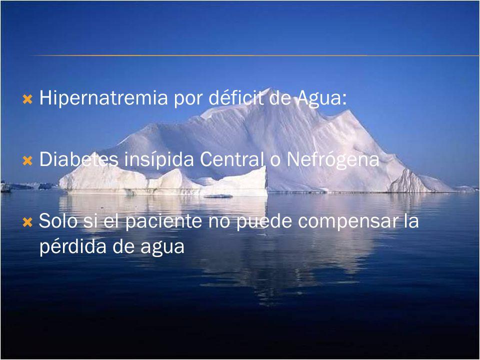 Hipernatremia por déficit de Agua: Diabetes insípida Central o Nefrógena Solo si el paciente no puede compensar la pérdida de agua