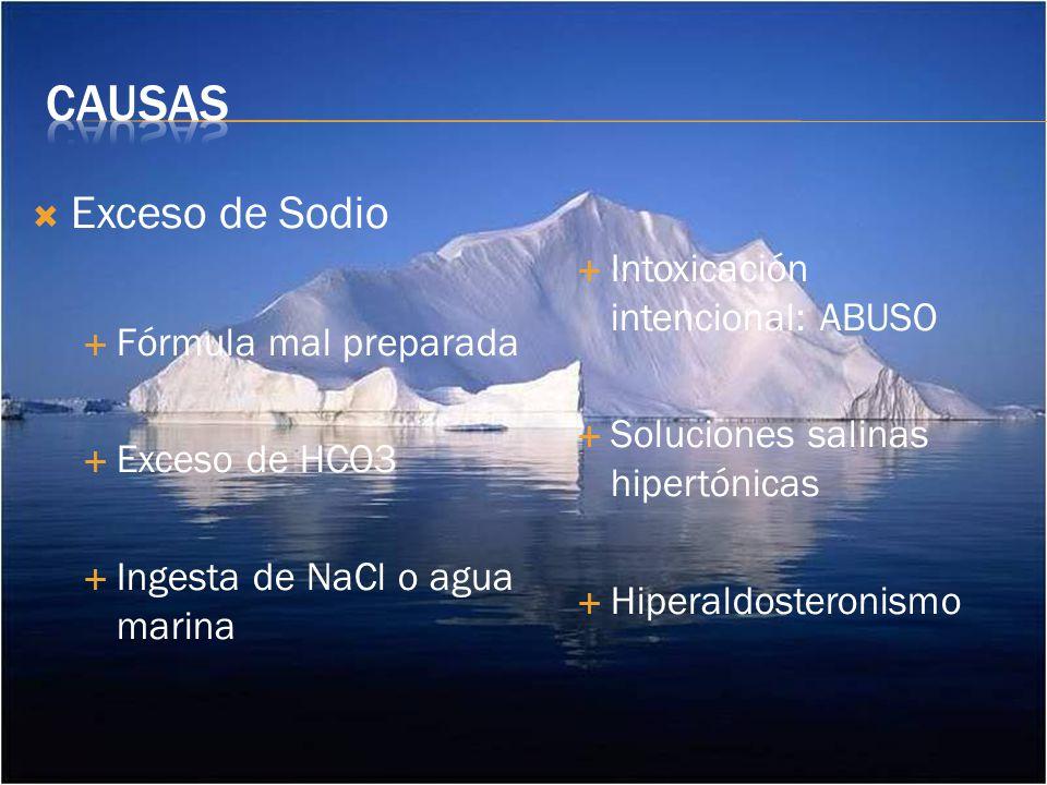 Exceso de Sodio Fórmula mal preparada Exceso de HCO3 Ingesta de NaCl o agua marina Intoxicación intencional: ABUSO Soluciones salinas hipertónicas Hiperaldosteronismo