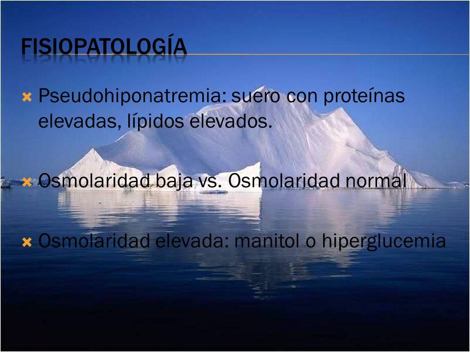 Pseudohiponatremia: suero con proteínas elevadas, lípidos elevados.