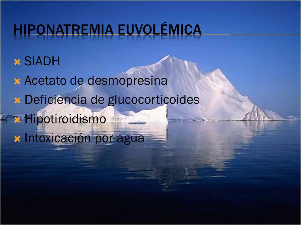 SIADH Acetato de desmopresina Deficiencia de glucocorticoides Hipotiroidismo Intoxicación por agua
