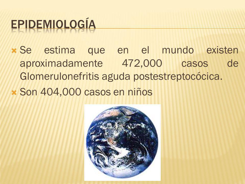 Se estima que en el mundo existen aproximadamente 472,000 casos de Glomerulonefritis aguda postestreptocócica. Son 404,000 casos en niños