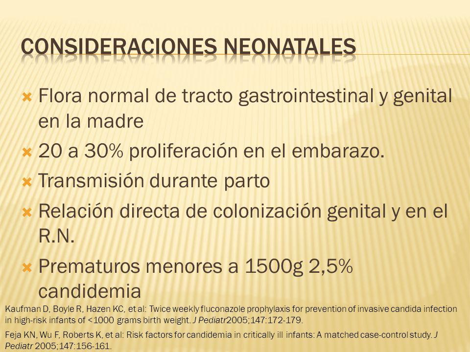 Flora normal de tracto gastrointestinal y genital en la madre 20 a 30% proliferación en el embarazo.