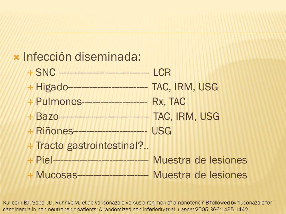 Infección diseminada: SNC --------------------------------- LCR Higado----------------------------- TAC, IRM, USG Pulmones------------------------ Rx, TAC Bazo--------------------------------- TAC, IRM, USG Riñones--------------------------- USG Tracto gastrointestinal?..