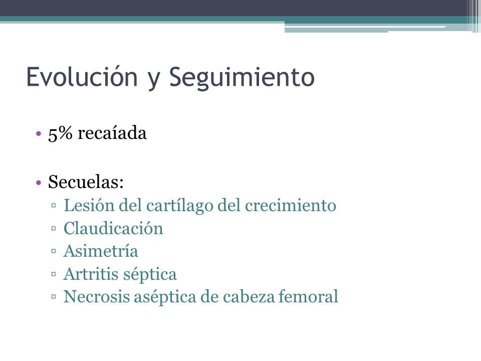 Evolución y Seguimiento 5% recaíada Secuelas: Lesión del cartílago del crecimiento Claudicación Asimetría Artritis séptica Necrosis aséptica de cabeza