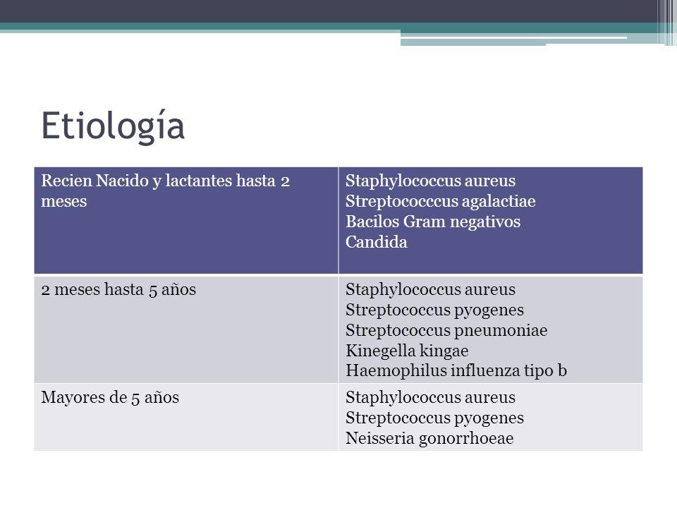 Etiología Recien Nacido y lactantes hasta 2 meses Staphylococcus aureus Streptococccus agalactiae Bacilos Gram negativos Candida 2 meses hasta 5 añosS