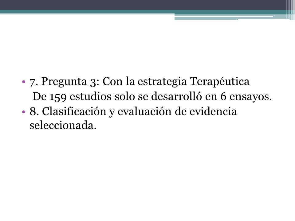 7. Pregunta 3: Con la estrategia Terapéutica De 159 estudios solo se desarrolló en 6 ensayos. 8. Clasificación y evaluación de evidencia seleccionada.