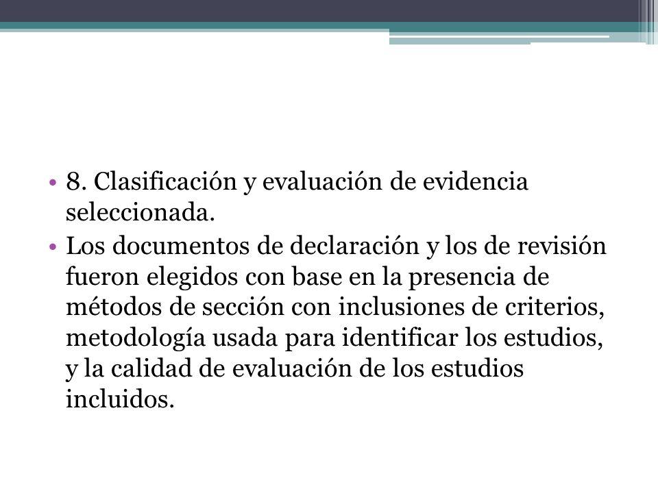 Los documentos de declaración y los de revisión fueron elegidos con base en la presencia de métodos de sección con inclusiones de criterios, metodología usada para identificar los estudios, y la calidad de evaluación de los estudios incluidos.