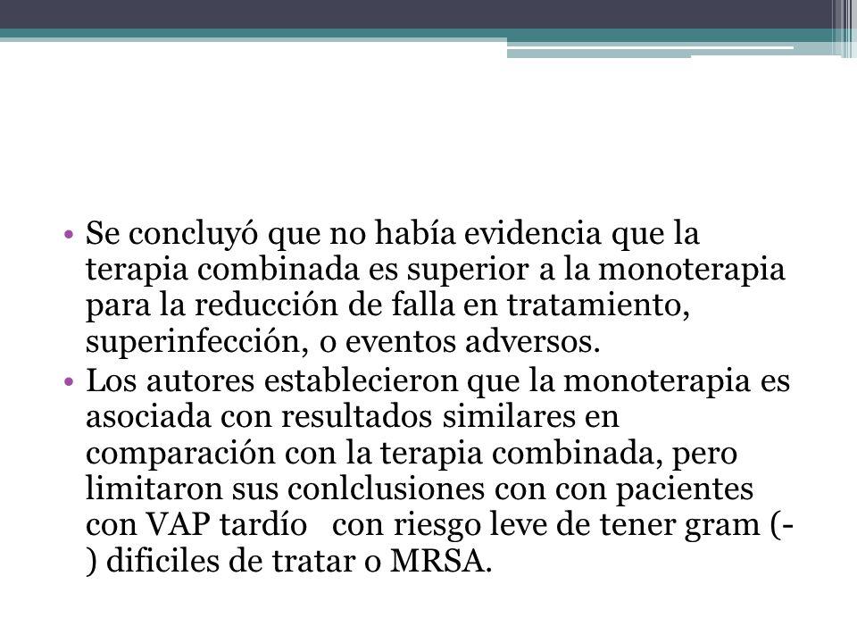 Se concluyó que no había evidencia que la terapia combinada es superior a la monoterapia para la reducción de falla en tratamiento, superinfección, o eventos adversos.