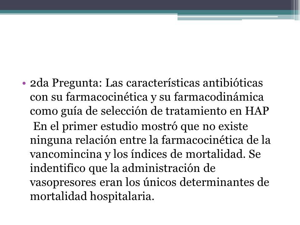 2da Pregunta: Las características antibióticas con su farmacocinética y su farmacodinámica como guía de selección de tratamiento en HAP En el primer e