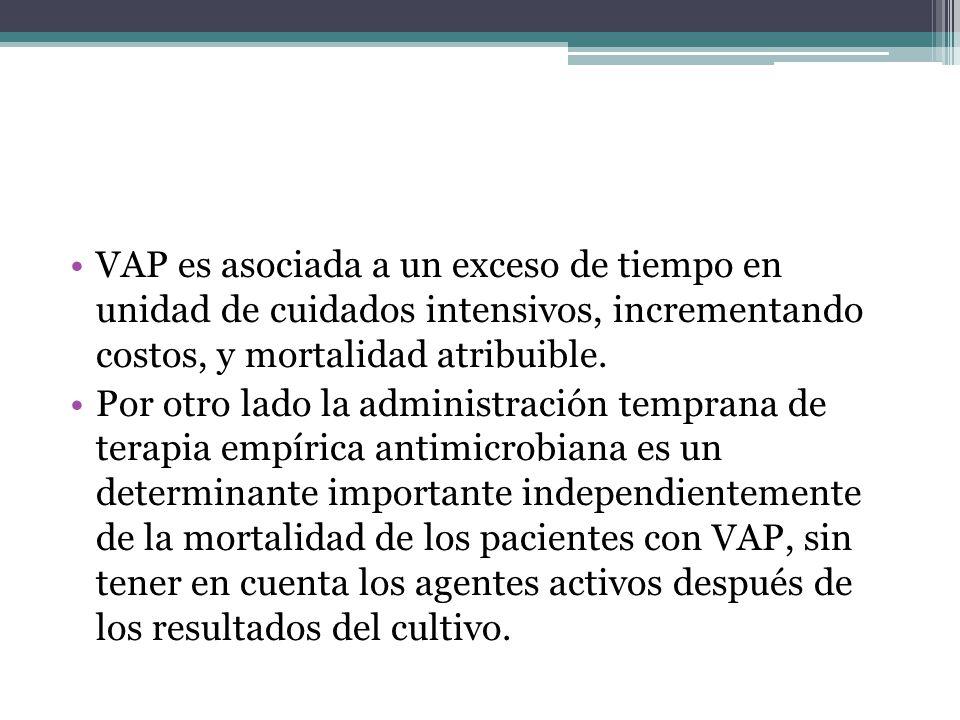 VAP es asociada a un exceso de tiempo en unidad de cuidados intensivos, incrementando costos, y mortalidad atribuible. Por otro lado la administración