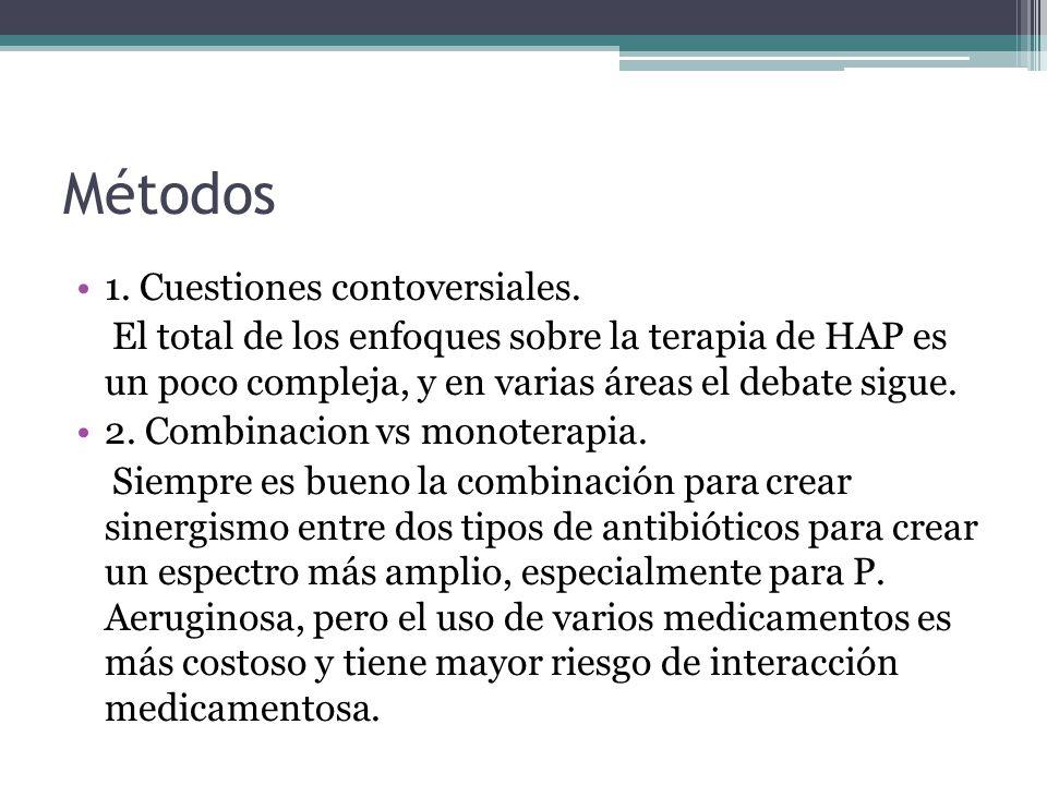 Métodos 1. Cuestiones contoversiales. El total de los enfoques sobre la terapia de HAP es un poco compleja, y en varias áreas el debate sigue. 2. Comb