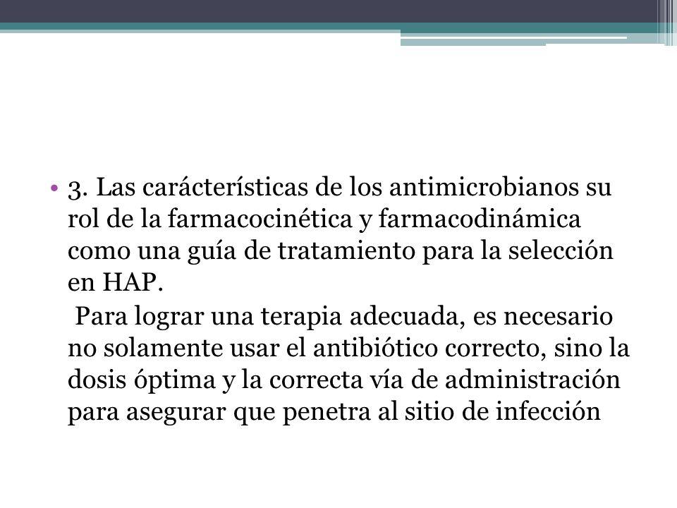3. Las carácterísticas de los antimicrobianos su rol de la farmacocinética y farmacodinámica como una guía de tratamiento para la selección en HAP. Pa