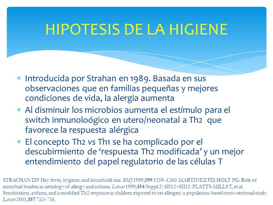Introducida por Strahan en 1989. Basada en sus observaciones que en familias pequeñas y mejores condiciones de vida, la alergia aumenta Al disminuir l