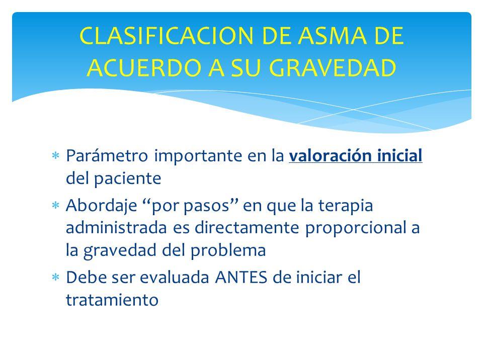 Parámetro importante en la valoración inicial del paciente Abordaje por pasos en que la terapia administrada es directamente proporcional a la graveda