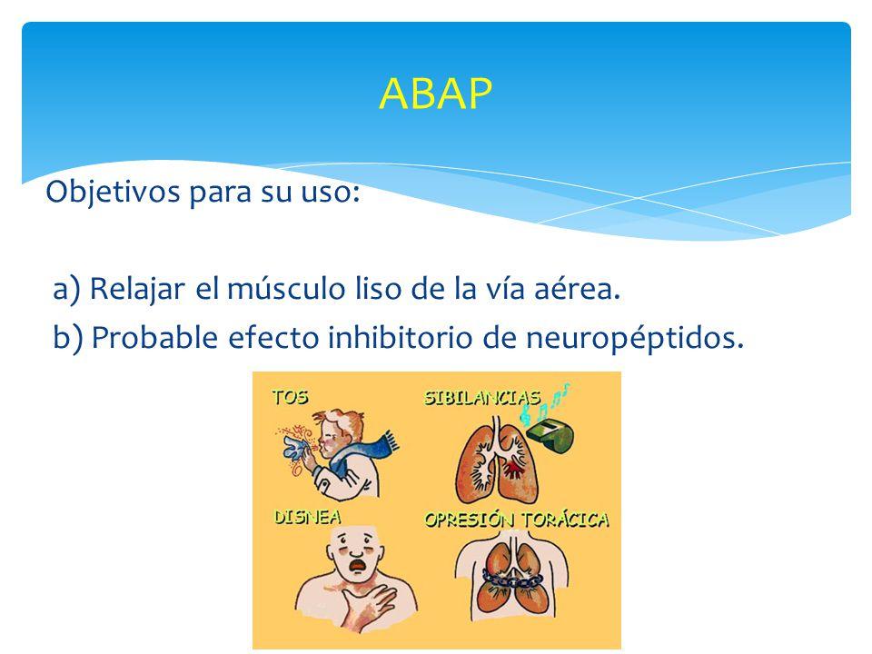 Objetivos para su uso: a) Relajar el músculo liso de la vía aérea. b) Probable efecto inhibitorio de neuropéptidos. ABAP