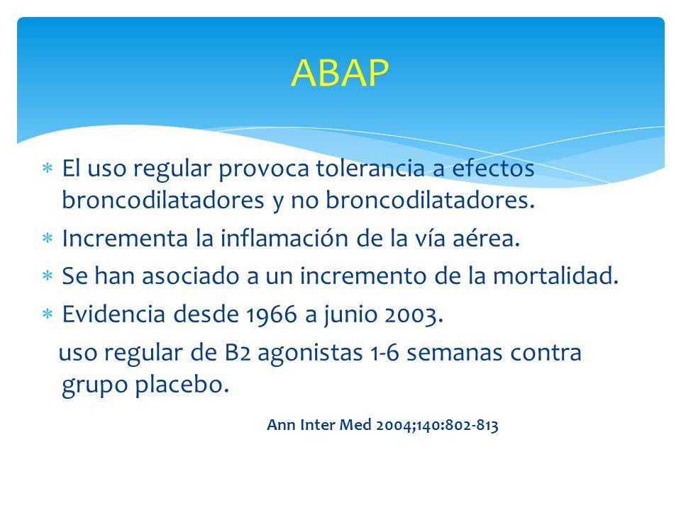 El uso regular provoca tolerancia a efectos broncodilatadores y no broncodilatadores. Incrementa la inflamación de la vía aérea. Se han asociado a un