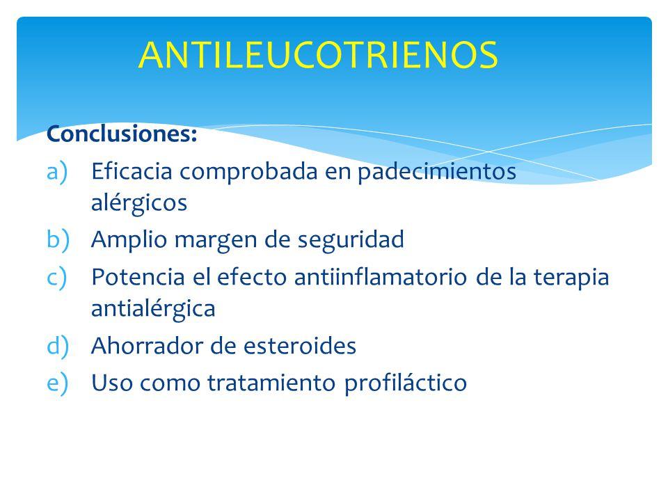 Conclusiones: a)Eficacia comprobada en padecimientos alérgicos b)Amplio margen de seguridad c)Potencia el efecto antiinflamatorio de la terapia antial