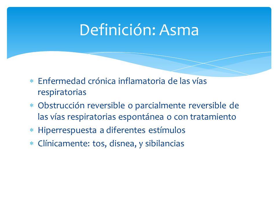 Enfermedad crónica inflamatoria de las vías respiratorias Obstrucción reversible o parcialmente reversible de las vías respiratorias espontánea o con