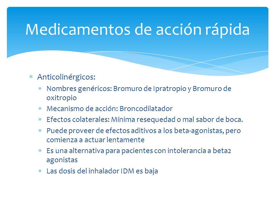 Anticolinérgicos: Nombres genéricos: Bromuro de Ipratropio y Bromuro de oxitropio Mecanismo de acción: Broncodilatador Efectos colaterales: Mínima res