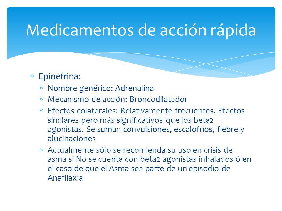 Epinefrina: Nombre genérico: Adrenalina Mecanismo de acción: Broncodilatador Efectos colaterales: Relativamente frecuentes. Efectos similares pero más