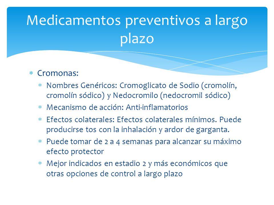 Cromonas: Nombres Genéricos: Cromoglicato de Sodio (cromolín, cromolín sódico) y Nedocromilo (nedocromil sódico) Mecanismo de acción: Anti-inflamatori