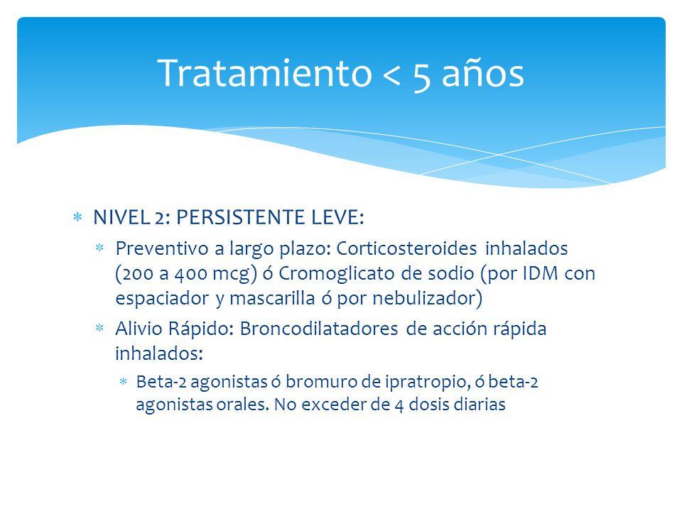 NIVEL 2: PERSISTENTE LEVE: Preventivo a largo plazo: Corticosteroides inhalados (200 a 400 mcg) ó Cromoglicato de sodio (por IDM con espaciador y masc