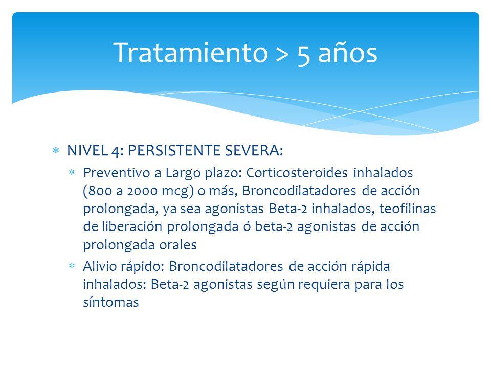 NIVEL 4: PERSISTENTE SEVERA: Preventivo a Largo plazo: Corticosteroides inhalados (800 a 2000 mcg) o más, Broncodilatadores de acción prolongada, ya s