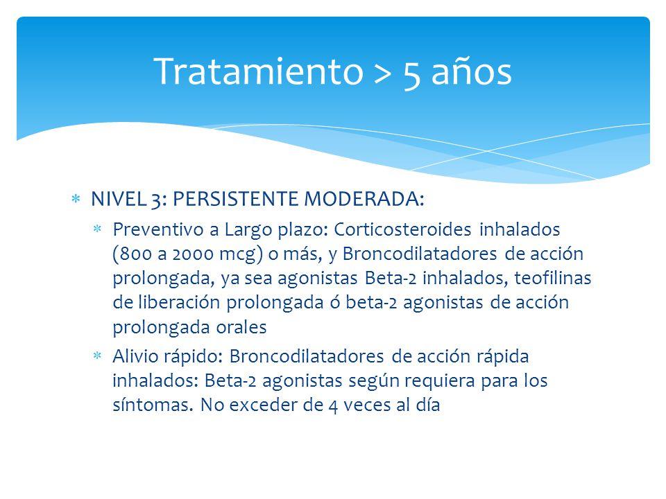 NIVEL 3: PERSISTENTE MODERADA: Preventivo a Largo plazo: Corticosteroides inhalados (800 a 2000 mcg) o más, y Broncodilatadores de acción prolongada,