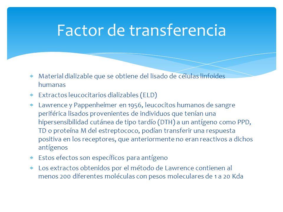 Factor de transferencia Material dializable que se obtiene del lisado de células linfoides humanas Extractos leucocitarios dializables (ELD) Lawrence