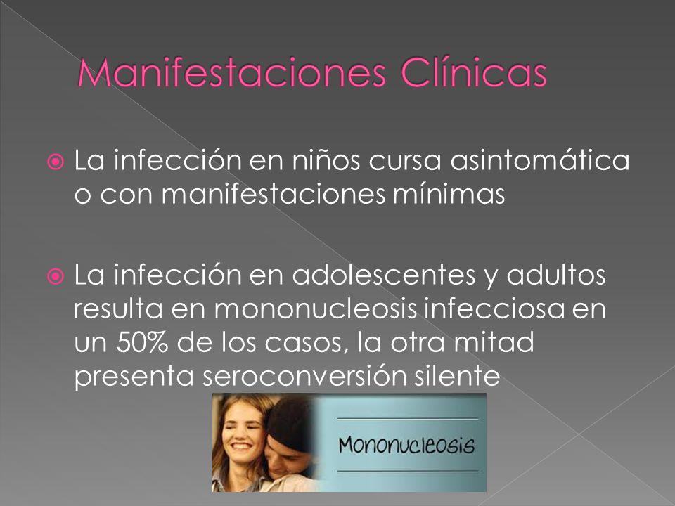 La infección en niños cursa asintomática o con manifestaciones mínimas La infección en adolescentes y adultos resulta en mononucleosis infecciosa en u