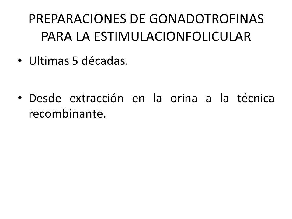 PREPARACIONES DE GONADOTROFINAS PARA LA ESTIMULACIONFOLICULAR Ultimas 5 décadas. Desde extracción en la orina a la técnica recombinante.