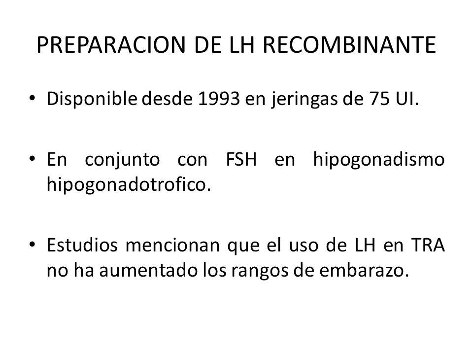 PREPARACION DE LH RECOMBINANTE Disponible desde 1993 en jeringas de 75 UI. En conjunto con FSH en hipogonadismo hipogonadotrofico. Estudios mencionan
