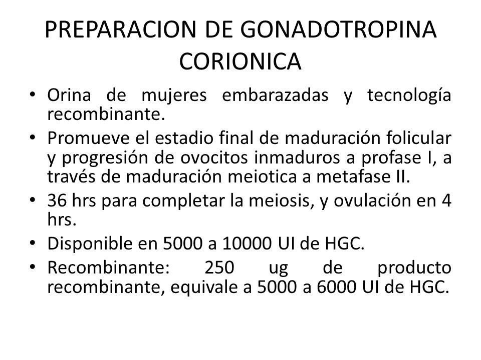 PREPARACION DE GONADOTROPINA CORIONICA Orina de mujeres embarazadas y tecnología recombinante. Promueve el estadio final de maduración folicular y pro