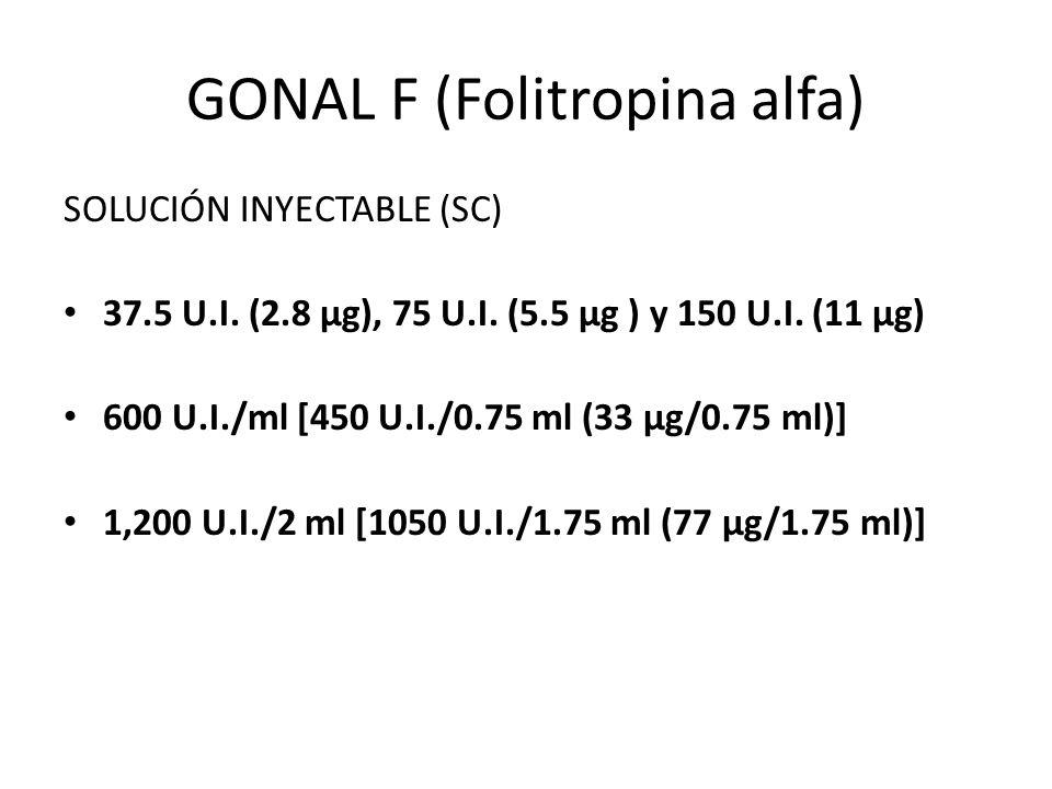 GONAL F (Folitropina alfa) SOLUCIÓN INYECTABLE (SC) 37.5 U.I. (2.8 µg), 75 U.I. (5.5 µg ) y 150 U.I. (11 µg) 600 U.I./ml [450 U.I./0.75 ml (33 µg/0.75