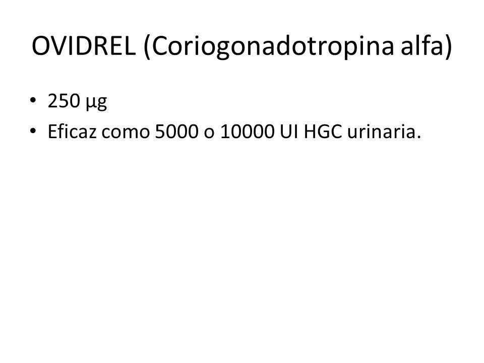 OVIDREL (Coriogonadotropina alfa) 250 µg Eficaz como 5000 o 10000 UI HGC urinaria.