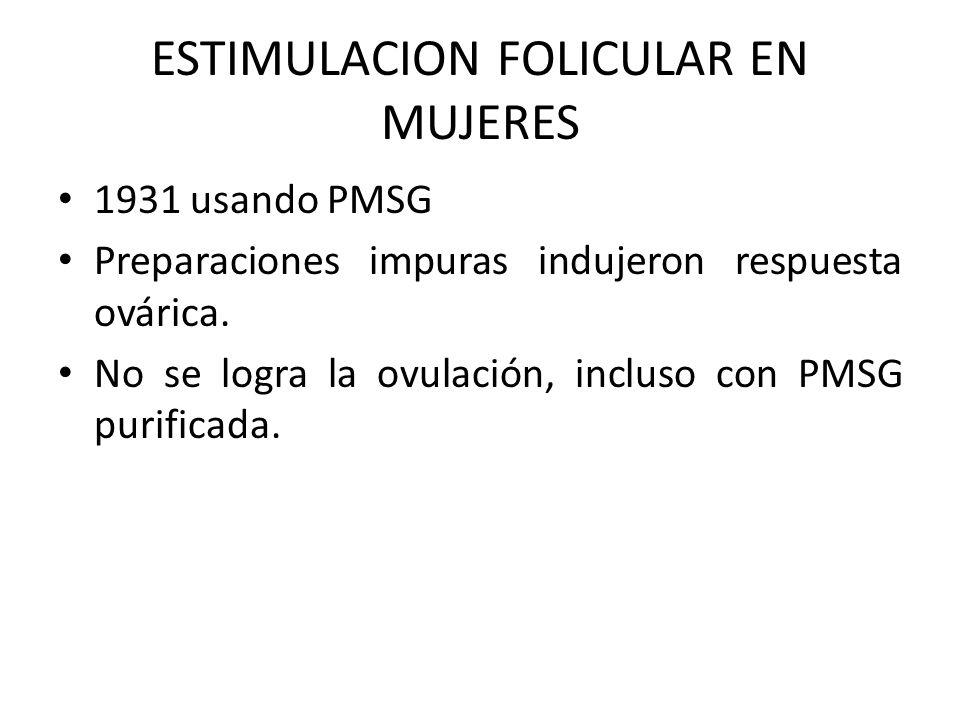 ESTIMULACION FOLICULAR EN MUJERES 1931 usando PMSG Preparaciones impuras indujeron respuesta ovárica. No se logra la ovulación, incluso con PMSG purif