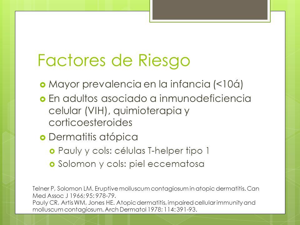 Factores de Riesgo Mayor prevalencia en la infancia (<10á) En adultos asociado a inmunodeficiencia celular (VIH), quimioterapia y corticoesteroides Dermatitis atópica Pauly y cols: células T-helper tipo 1 Solomon y cols: piel eccematosa Telner P, Solomon LM.