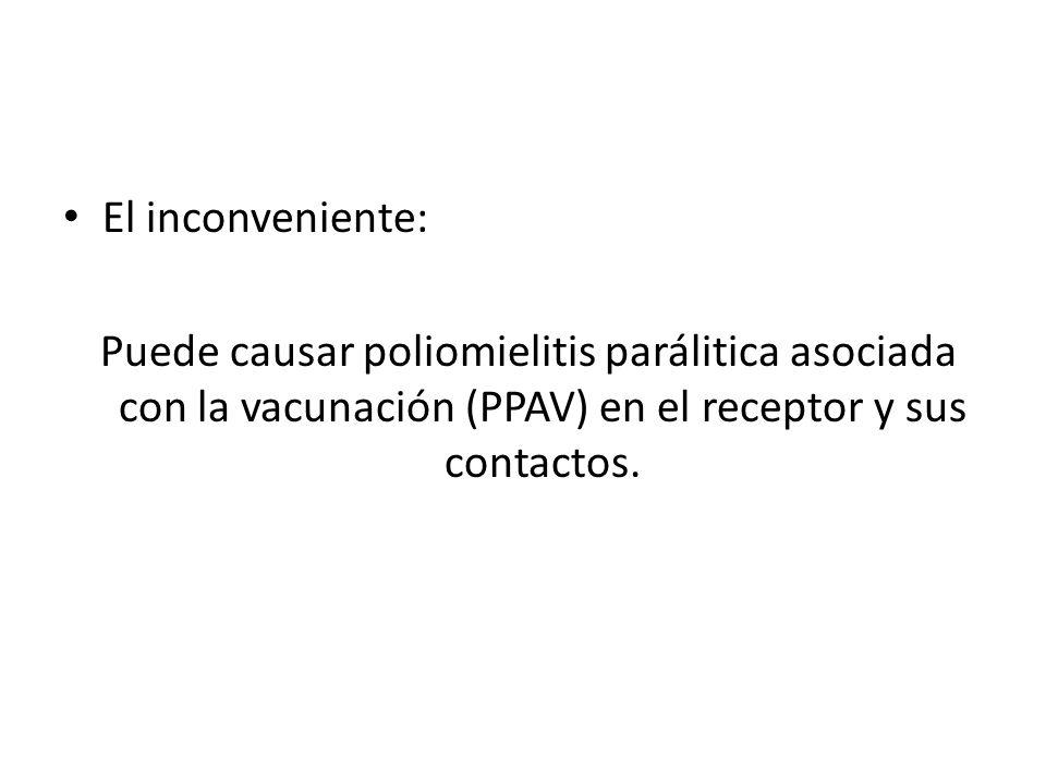 VPI Ofrece la ventaja de ser incapaz de causar poliomielitis paralítca.