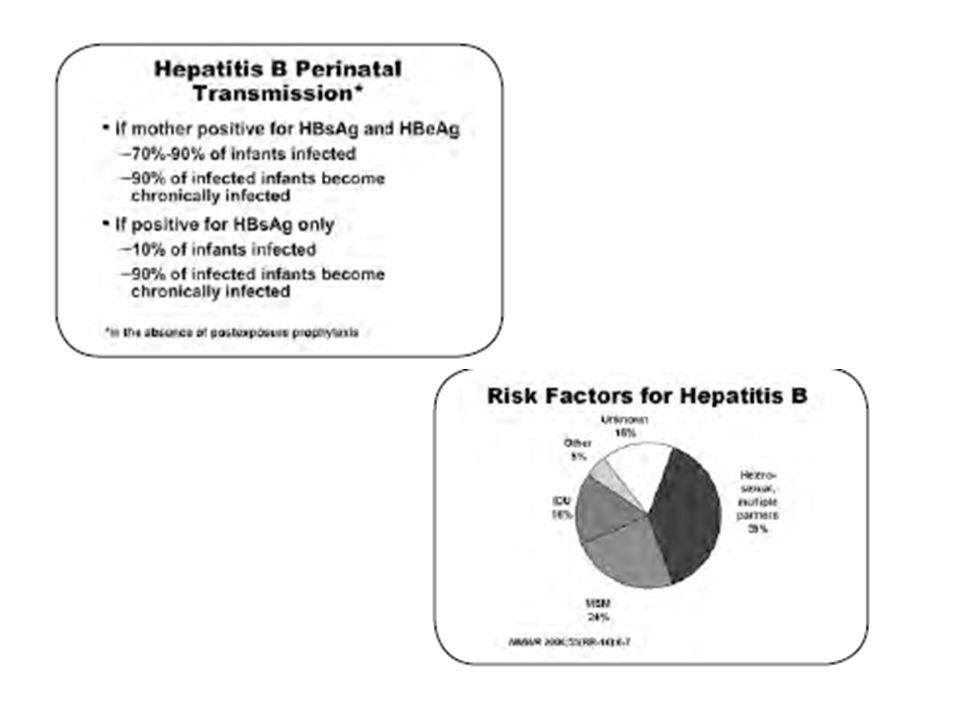 Niños nacidos con madres AGsHB +: Inmunoglobilinas Inmunización al nacimiento Conveniente realizar AGsHB y AntiHB a los 9 meses de edad Revacunar si: anticuerpos < 10 mUI/ml