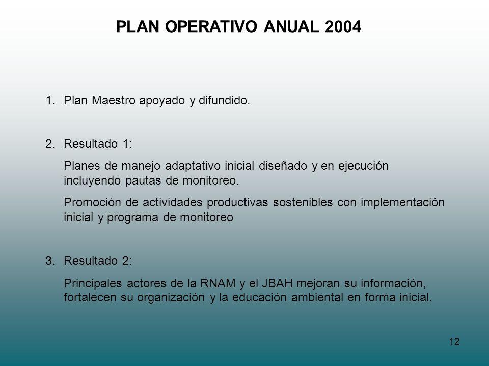 12 PLAN OPERATIVO ANUAL 2004 1.Plan Maestro apoyado y difundido. 2.Resultado 1: Planes de manejo adaptativo inicial diseñado y en ejecución incluyendo