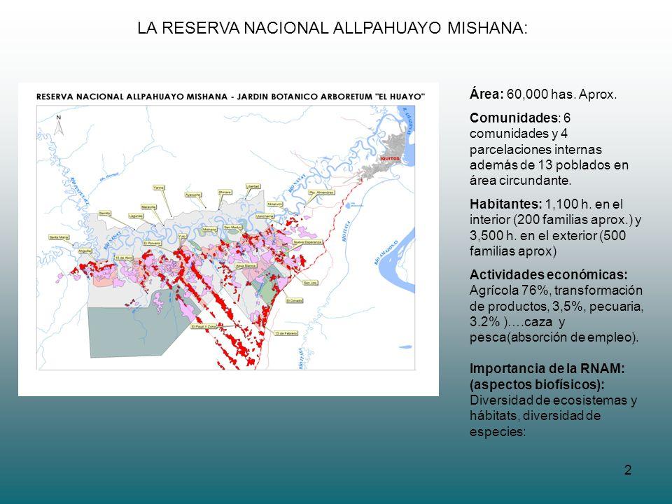 2 LA RESERVA NACIONAL ALLPAHUAYO MISHANA: Área: 60,000 has. Aprox. Comunidades: 6 comunidades y 4 parcelaciones internas además de 13 poblados en área
