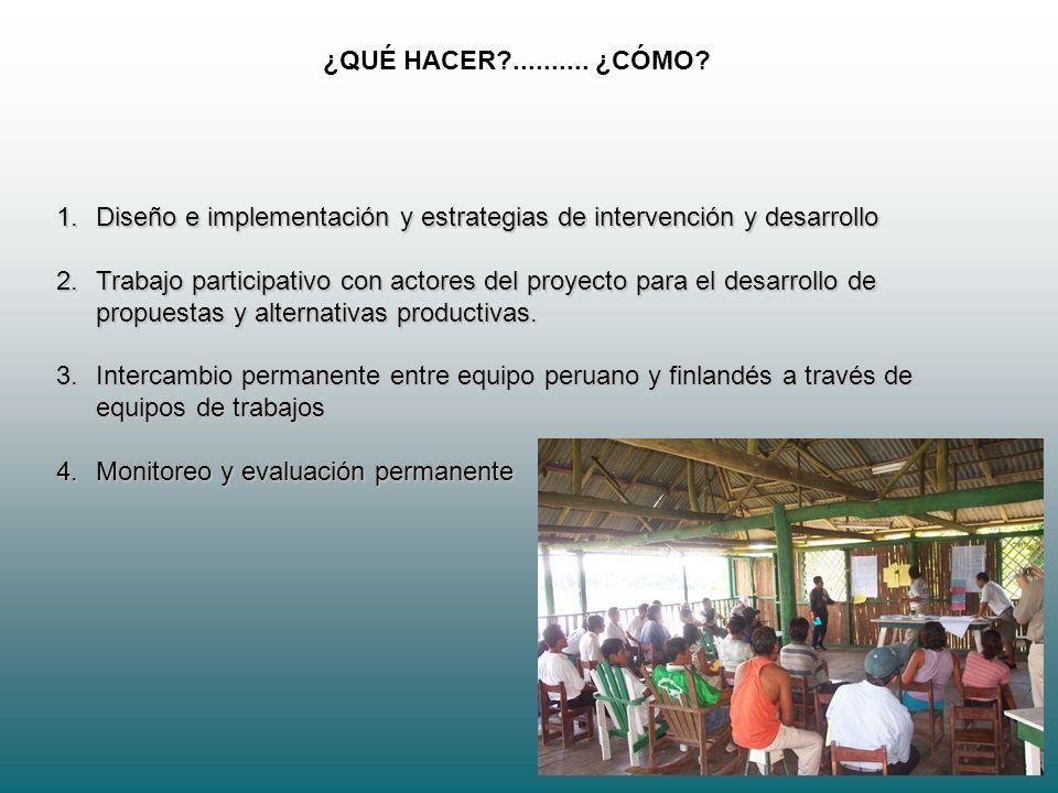 5 ¿QUÉ HACER?.......... ¿CÓMO? 1.Diseño e implementación y estrategias de intervención y desarrollo 2.Trabajo participativo con actores del proyecto p