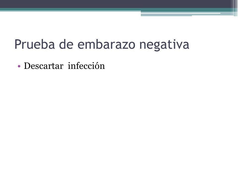 Prueba de embarazo negativa Descartar infección
